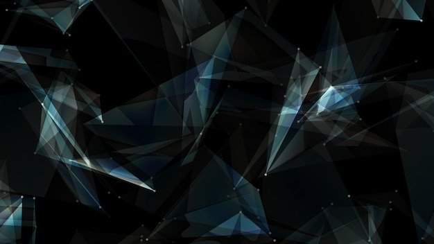 Abstrakte dunkelblaue digitale datensystempolygonknoten.