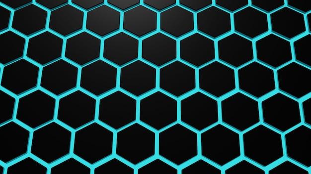 Abstrakte dunkelschwarze metallische sechseck-3d-darstellung