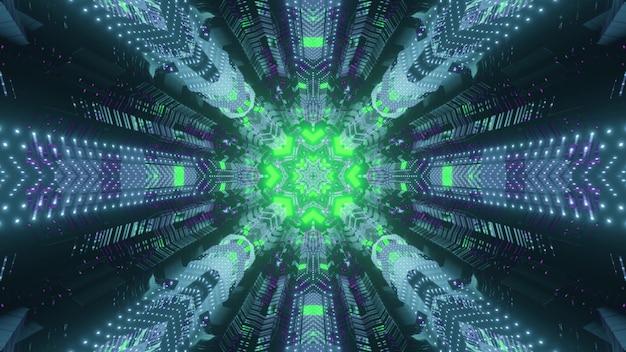 Abstrakte dynamische hintergrund-3d-illustration innerhalb des futuristischen tunnels der virtuellen welt mit kreisförmigem loch, das mit hellgrünen neonlampen beleuchtet wird