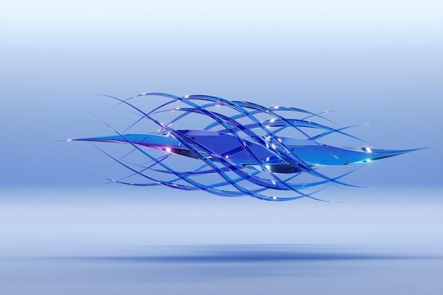 Abstrakte dynamische tröpfchenform mit blauen glatten objekten, seiten auf einem hellen, isolierten hintergrund. 3d-darstellung und -rendering. eleganter linienhintergrund.