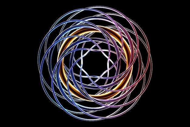 Abstrakte dynamische tröpfchenform mit blauen glatten objekten, seiten auf schwarzem, isoliertem hintergrund. 3d-darstellung und -rendering. eleganter linienhintergrund.