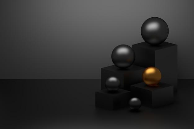 Abstrakte einfache komposition mit würfelsockeln und schwarzen glänzenden kugeln mit goldener
