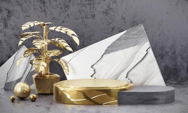 Abstrakte eleganz luxus goldene bühnenplattform, für die anzeige von werbeprodukten, 3d-rendering.