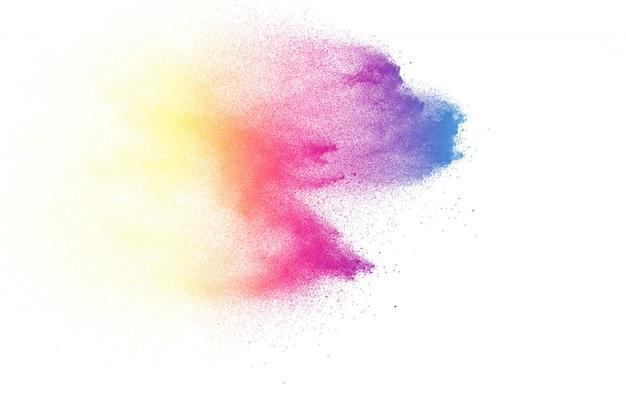 Abstrakte farbpulverexplosion auf weißem hintergrund