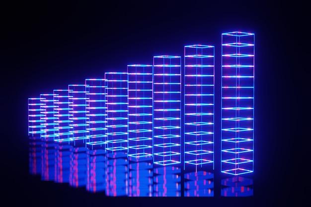 Abstrakte finanzielle börse neonlicht futuristisch balkendiagramm business 3d-rendering