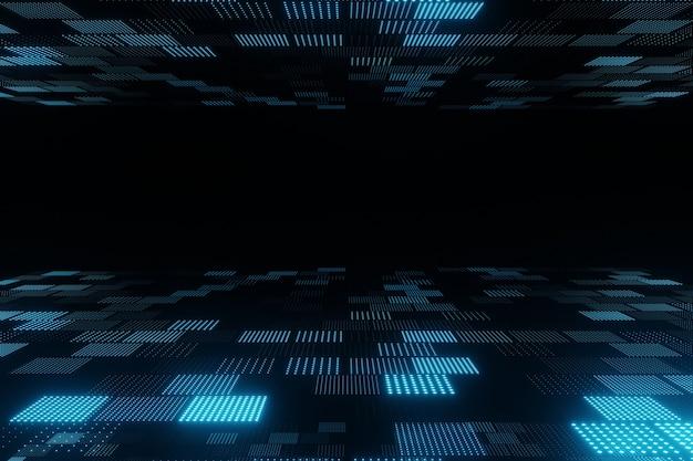 Abstrakte fliegende blaue partikel auf 3d-rendering des schwarzen hintergrunds