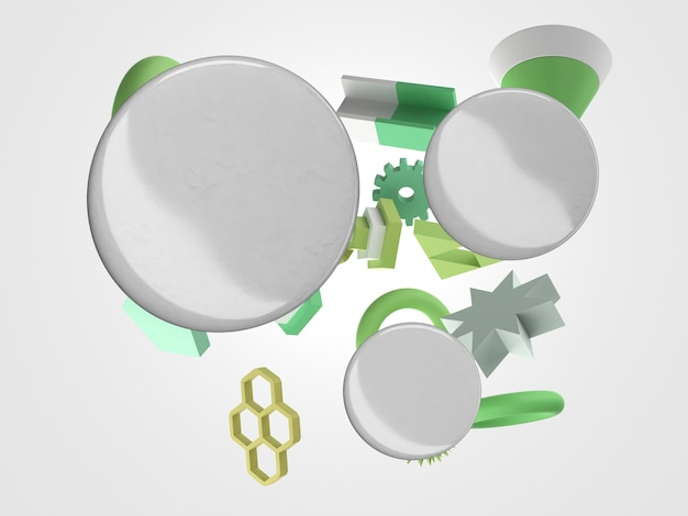 Abstrakte flugobjekte mit leeren weißen abzeichen 3d
