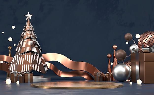 Abstrakte frohe weihnachten produktanzeigepodest mit kiefer und dekorationsputz