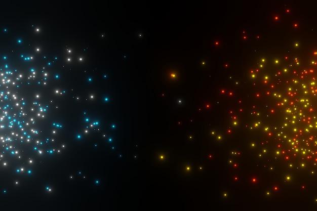 Abstrakte funken glühende glitzerstaubpartikel 3d-darstellung