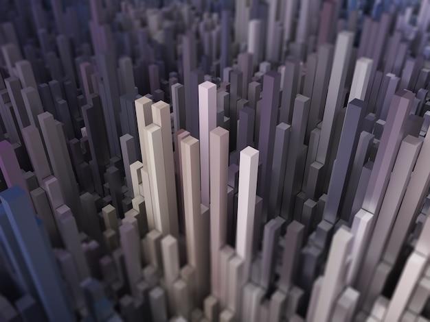 Abstrakte futuristische 3d-landschaft mit extrudierten würfeln
