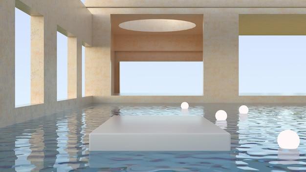 Abstrakte futuristische architektur. szene mit podien, um ein produkt zu zeigen. minimale szene mit geometrischen formen. plattformen und lichter schwimmen auf dem wasser, elegantes interieur. 3d rendern