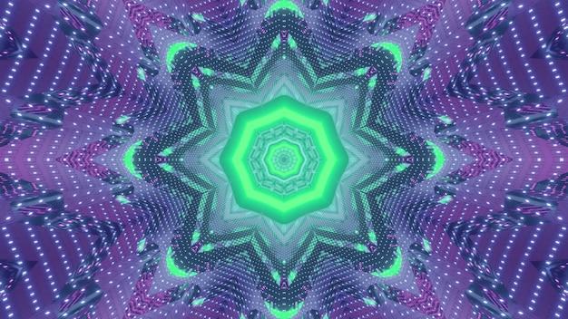 Abstrakte futuristische fraktale geometrische hintergrund-3d-illustration mit achteckigem zentrum und blumenförmigen linien, umgeben von symmetrisch schimmernden glitzern in leuchtend grünen und lila neonfarben