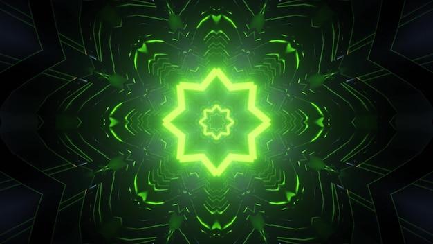 Abstrakte futuristische hintergrund 3d illustration des endlosen dunklen tunnels mit leuchtend grünen neonsternförmigen löchern und lichtreflexionen