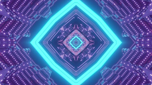 Abstrakte futuristische hintergrundillustration 3d mit leuchtendem blauem neonrahmen und symmetrischen lila lichtern, die optische täuschung der sci-fi-tunnelperspektive schaffen