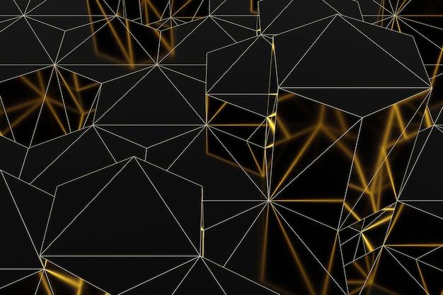 Abstrakte futuristische niedrige polyoberfläche von schwarzen sechsecken mit einem leuchtenden goldgitter. minimalistisches schwarz-3d-rendering.