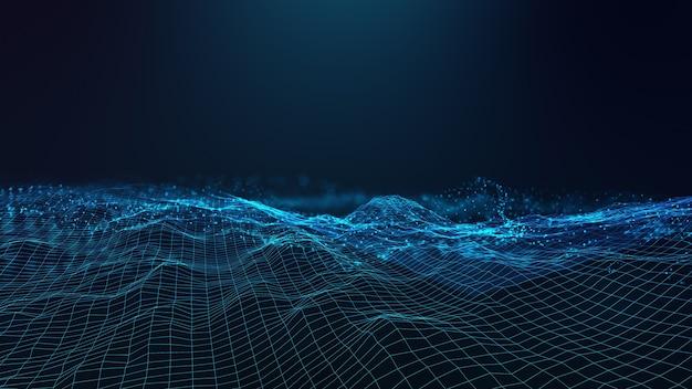 Abstrakte futuristische technologie mit polygonalen formen auf dunkelblauem hintergrund. entwerfen sie ein digitales technologiekonzept.