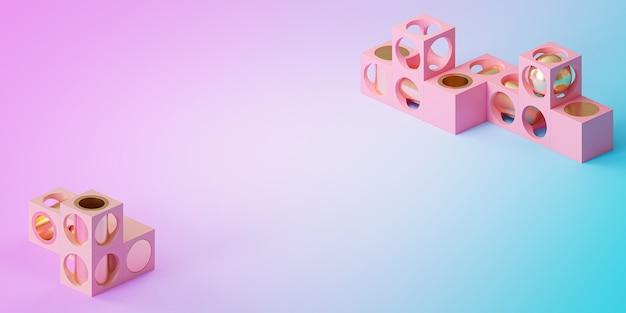 Abstrakte futuristische würfel- und zylinderobjekte auf farbverlaufshintergrund, minimales 3d-rendering