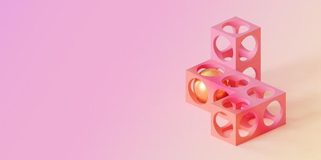 Abstrakte futuristische würfelobjekte auf farbverlaufshintergrund, minimales 3d-rendering