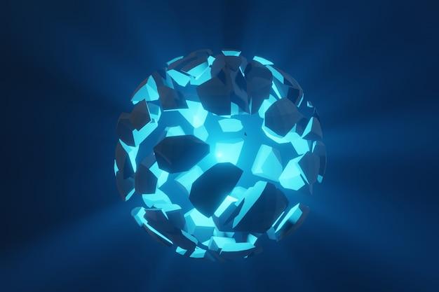 Abstrakte futuristische zerstörung explosion des 3d-renderings der kugel