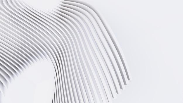 Abstrakte gebogene formen. weißer kreisförmiger hintergrund. abstrakter hintergrund. 3d-darstellung