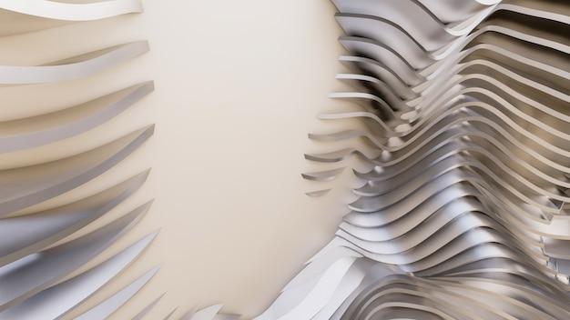 Abstrakte gekrümmte formen. weißer kreisförmiger hintergrund. abstrakter hintergrund. 3d-illustration