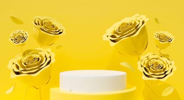 Abstrakte gelbe blumenrose valentinstag ist tageshintergrund. 3d-rendering-design für podium, stand, bühne.