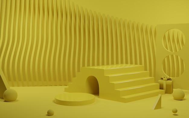Abstrakte gelbe produktpodest-szene des 3d-renderings