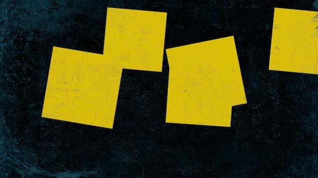 Abstrakte gelbe quadrate auf dunklem schmutzhintergrund. eleganter und luxuriöser 3d-illustrationsstil für hipster- und aquarellvorlagen