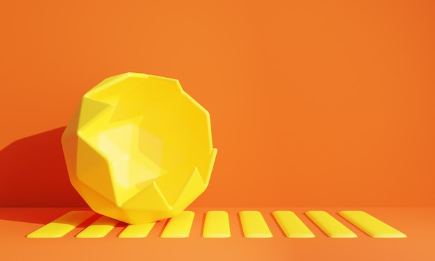 Abstrakte gelbe schädigende kugel 3d mit orange hintergrund. abbildung 3d.