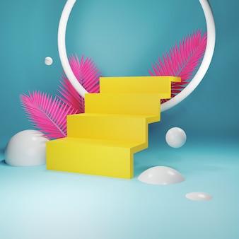 Abstrakte geometrieform mit gelber treppe, rosa palmblätter auf pastellfarben. art-deco-shop-anzeige. leere vitrine. 3d-rendering für produkt. minimales konzept.