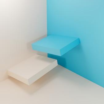 Abstrakte geometrische blaue und weiße podien