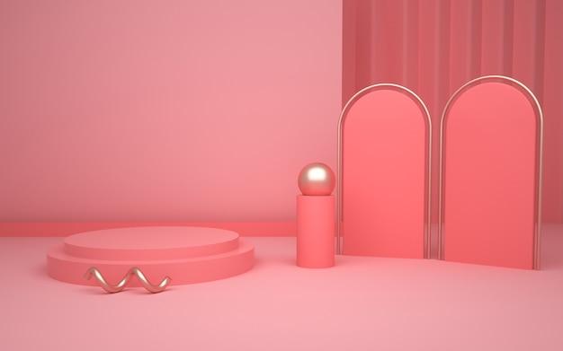 Abstrakte geometrische bühne des 3d-renderings mit rundem sockel für modellanzeige