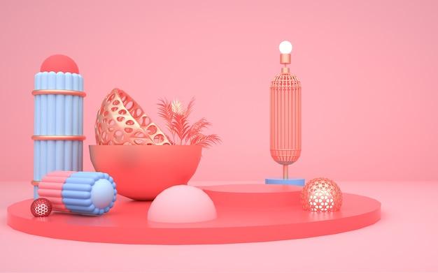 Abstrakte geometrische form des 3d-renderings mit sockel für modellanzeige