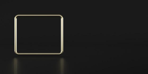 Abstrakte geometrische form, goldener rahmen auf dunklem hintergrund, minimaler stil, 3d-rendering