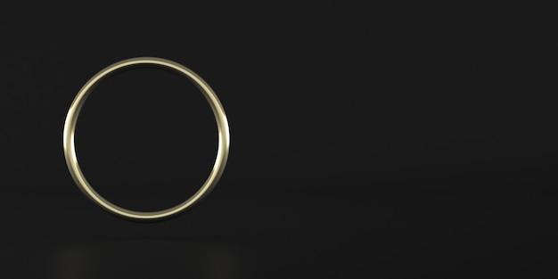 Abstrakte geometrische form, goldener ring auf dunklem hintergrund, minimaler stil, 3d-darstellung