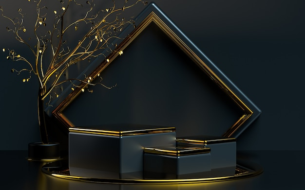 Abstrakte geometrische form mit goldblättern 3d-rendering-podiumsbühne für die produktpräsentation