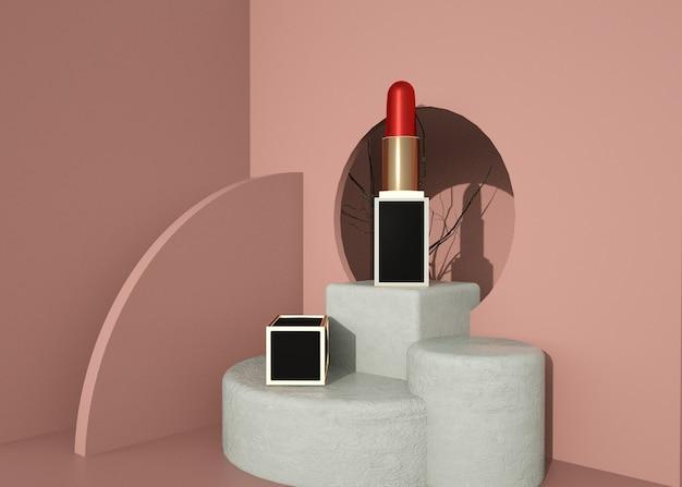 Abstrakte geometrische form mit lippenstiftprodukt für modellanzeige