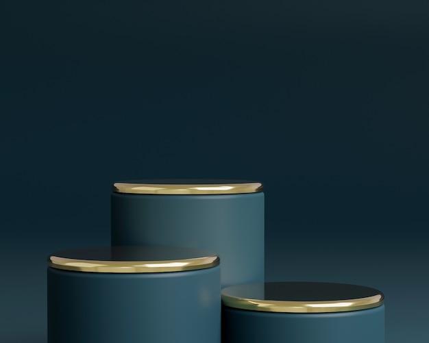 Abstrakte geometrische form mit minimalem stil auf dunkelblauer farbe. verwendung für kosmetik- oder produktpräsentationen. 3d-darstellung und illustration.