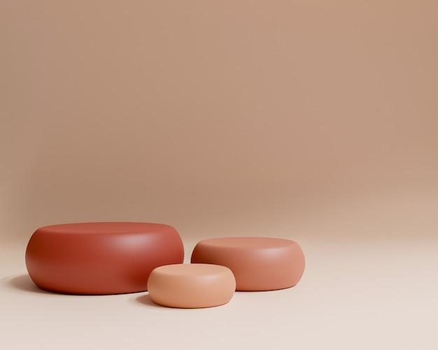 Abstrakte geometrische form mit minimalem stil und pastellfarbe. verwendung für kosmetik- oder produktpräsentationen. 3d-darstellung und illustration.