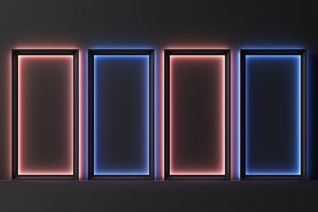Abstrakte geometrische form pastellfarbschablone minimaler moderner stil wandhintergrund mit beleuchtung wachsen 3d-rendering