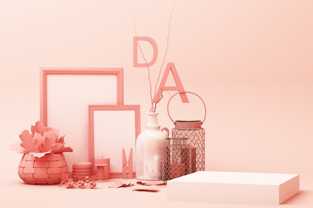 Abstrakte geometrische form pastellrosa farbszene minimal mit dekoration und requisite, design für kosmetik oder produktanzeige podium 3d rendern