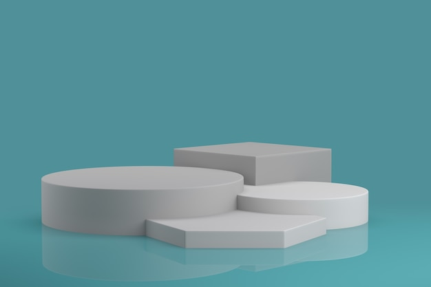 Abstrakte geometrische form-schablonen-minimaler moderner art-wand-hintergrund. 3d-rendering