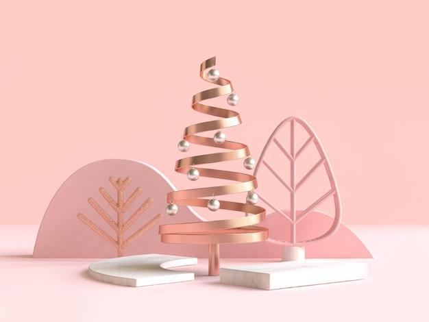 Abstrakte geometrische form weihnachtsbaum-szenenkonzept-dekoration 3d wiedergabe