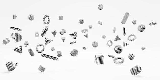 Abstrakte geometrische formen 3d einfacher hintergrund mit würfeln minimale art 3d illustration
