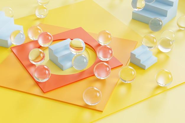 Abstrakte geometrische gelbe oberfläche mit quadratischem papier, blauen treppen und glaskugeln. 3d-rendering-illustration.