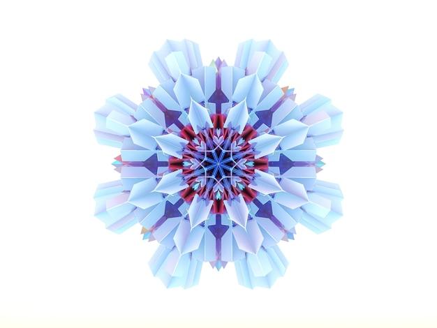 Abstrakte geometrische kristallmandala-schneeflocke 3d.
