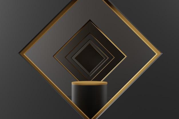 Abstrakte geometrische szene 3d mit schwarzem sockel.