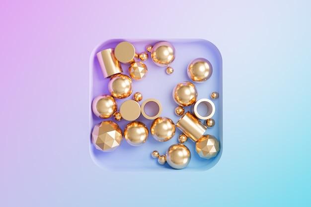 Abstrakte goldene geometrische objekte auf hintergrund mit farbverlauf, minimale 3d-darstellung