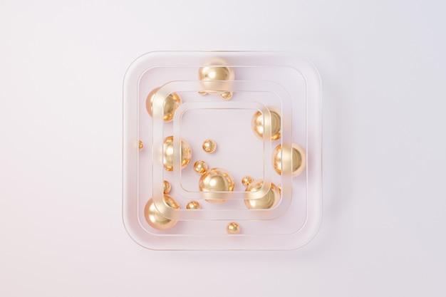 Abstrakte goldene kugeln mit milchglas auf beigem hintergrund, minimaler 3d-rendering
