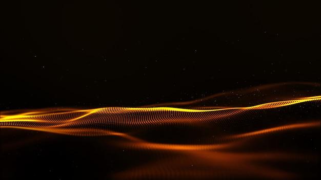 Abstrakte goldfarbdigitale partikel bewegen mit bokeh und hellem bewegungshintergrund wellenartig